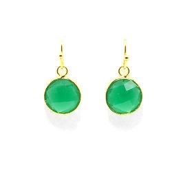Oorbellen facet geslepen crystal rond 12mm groen met goud