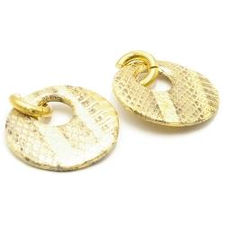 Oorbellen rond met groot gat snakeleer goud met creolen