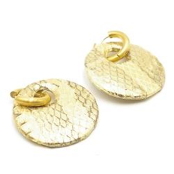 Oorbellen snakeleer rond goud met creolen