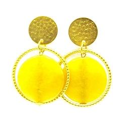 Oorbellen facet geslepen jade geel met metalen ring