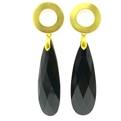 Oorbellen facetgeslepen druppel lang zwart met open gouden steker