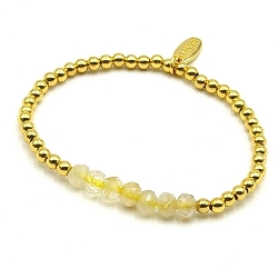 Armband halfedelsteen citrien met 14krt goud