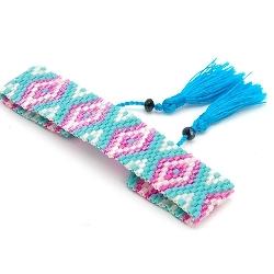 Armband plat geweven met aantrek koordje lichtblauw/roze/wit