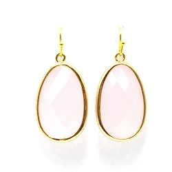 Oorbellen facetgeslepen ovaal roze met gouden haakje