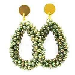 Oorbellen Candy klein emerald ab met gouden steker