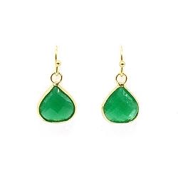 Oorbellen facet geslepen crystal druppel 12x12mm (emerald)