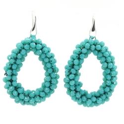 Oorbellen Candy turquoise facet met zilveren haakjes