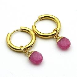 Oorbellen creolen goud met facet geslepen druppel roze