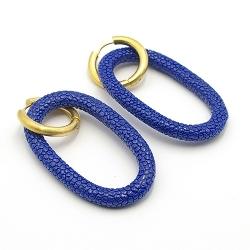 Oorbellen schelphars ovaal open met creolen koningsblauw
