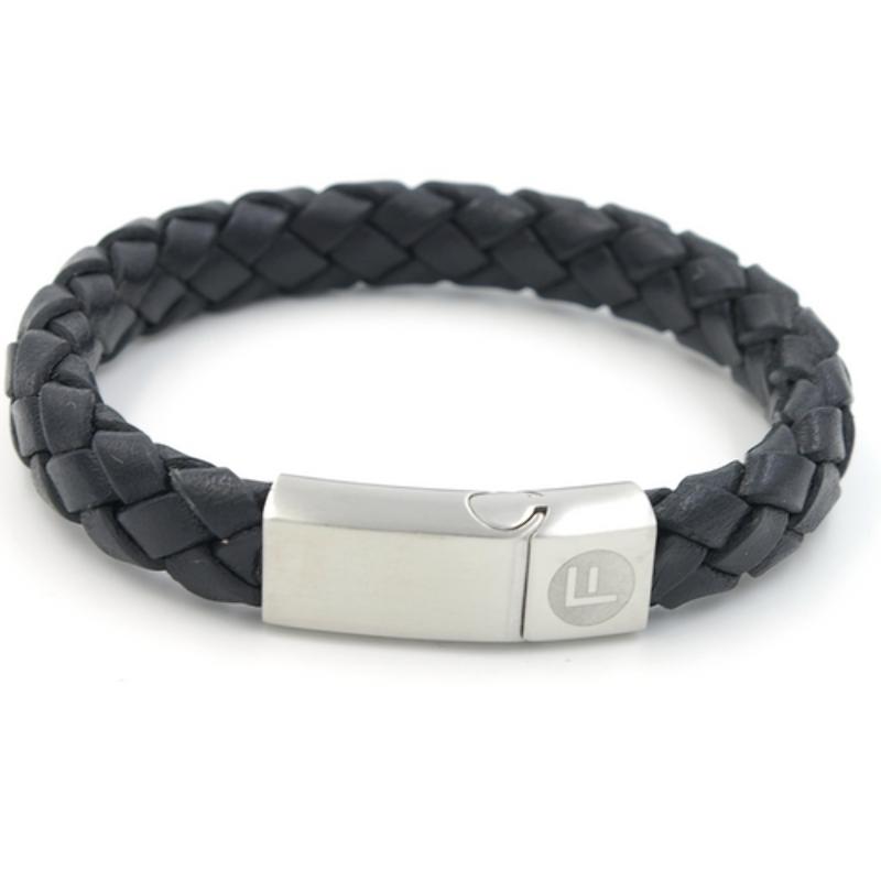 Armband natuurleer met stainless steel slot
