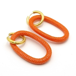 Oorbellen schelphars ovaal open met creolen oranje