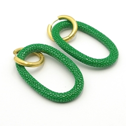 Oorbellen schelphars ovaal open met creolen groen