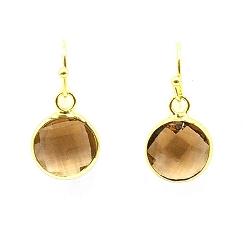 Oorbellen facet geslepen crystal rond 12mm bruin met goud