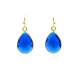 Oorbellen facet geslepen crystal druppel 13x18mm koningsblauw