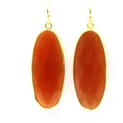 Oorbellen facet geslepen crystal druppel lang (oranje)