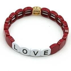 Armband emaille tegel afgerond vierkant Love bordeaux