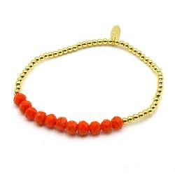 Armband facetgeslepen kraal oranje en 3mm 14krt balletjes