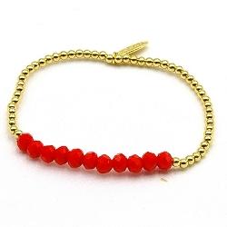 Armband facetgeslepen kralen rood en 3mm 14krt balletjes