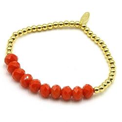 Armband facetgeslepen kralen oranje en 4mm 14krt balletjes