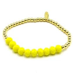 Armband facetgeslepen kralen geel en 4mm 14krt balletjes