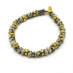 Armband halfedelsteen dalmatier met 14krt schijfjes