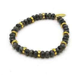 Armband halfedelsteen black labradorite met 14krt schijfjes