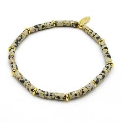 Armband halfedelsteen dalmatier buisjes met 14krt spacers