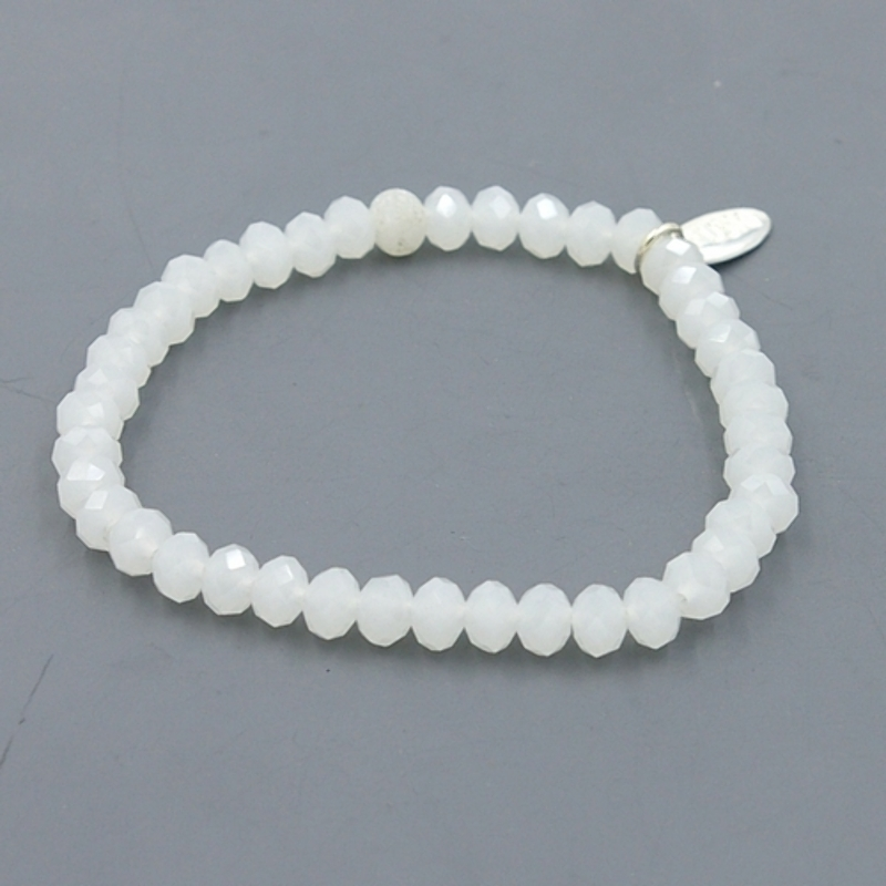 Armband facet 6mm (wit frost)