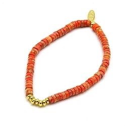 Armband halfedelsteen orange turquoise schijfje en 14krt balletjes