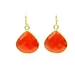 Oorbellen facet geslepen crystal druppel (oranje)