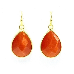 Oorbellen facet geslepen crystal druppel klein (oranje)
