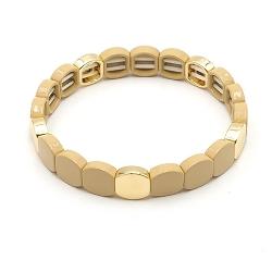 Armband emaille tegel vierkant afgerond zand goud
