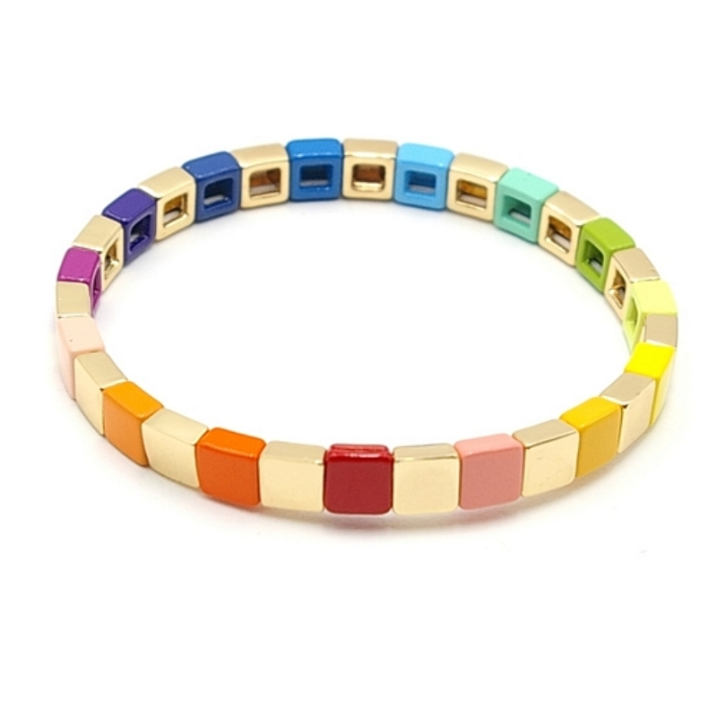 Armband emaille tegel vierkant multi color en goud