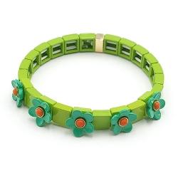 Armband emaille tegel vierkant groen met groen bloemetje