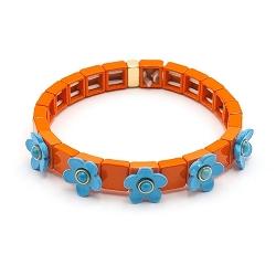 Armband emaille tegel vierkant oranje met blauw bloemetje