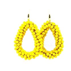 Oorbellen Candy klein geel facet met gouden haakjes