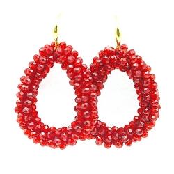 Oorbellen Candy klein rood facet met gouden haakjes