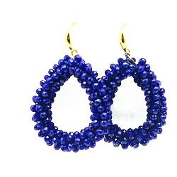 Oorbellen Candy klein koningsblauw facet met gouden haakjes