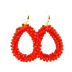 Oorbellen Candy klein oranje facet met gouden haakjes