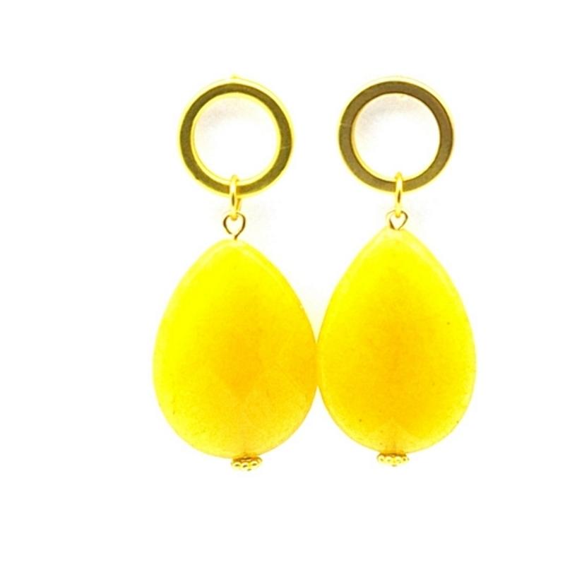 Oorbellen druppel geel agaat met gouden steker
