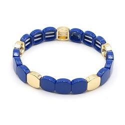 Armband emaille tegel vierkant afgerond donkerblauw goud