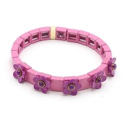 Armband emaille tegel vierkant roze met paars bloemetje