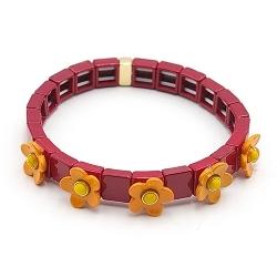 Armband emaille tegel vierkant rood met oranje bloemetje