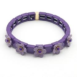 Armband emaille tegel vierkant paars met paars bloemetje