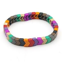 Armband emaille tegel v-vorm multi color