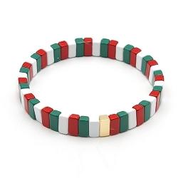 Armband emaille tegel langwerpig groen/rood/wit