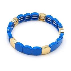 Armband emaille tegel vierkant afgerond blauw goud