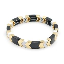 Armband emaille tegel v-vorm zwart/wit/goud