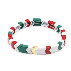 Armband emaille tegel v-vorm rood/wit/groen