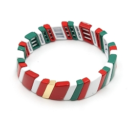 Armband emaille tegel schuin groen/rood/wit